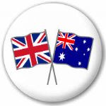 Great Britain and Australia Friendship Flag 25mm Pin Button Badge